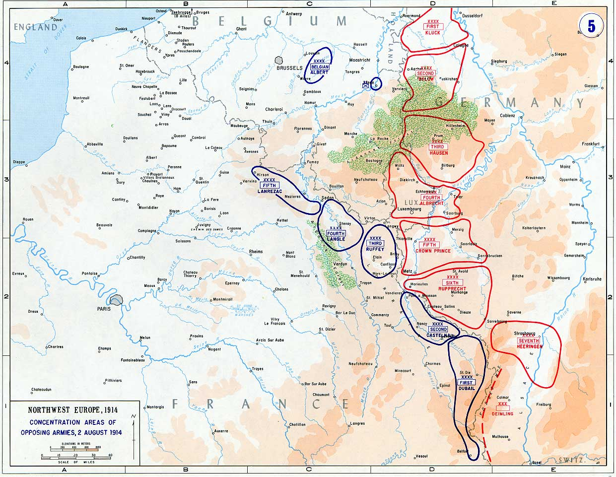 Deployments in the West, August 1914