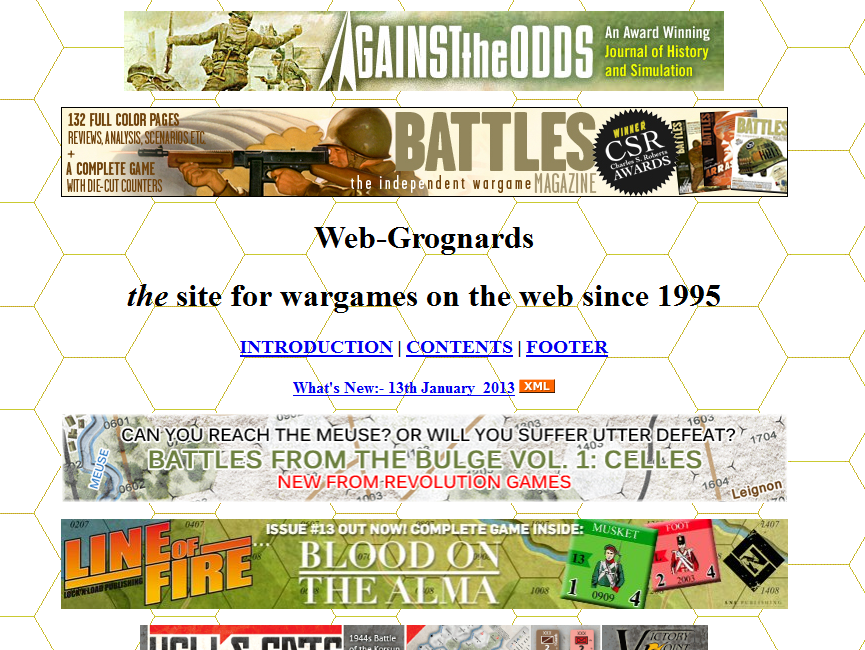 Screenshot from Grognard.com