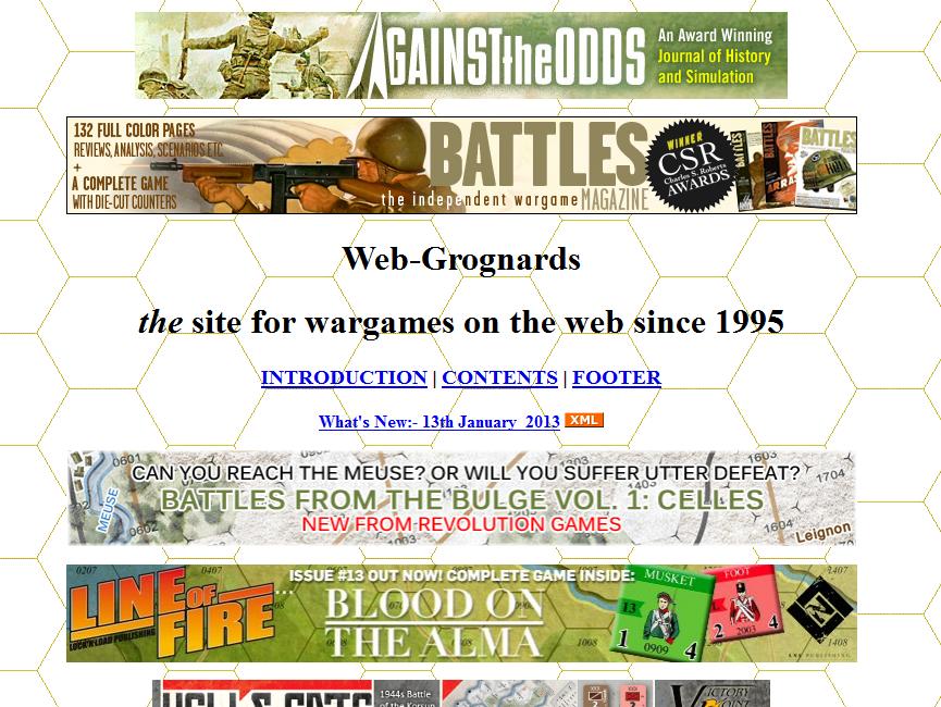 Screenshot from Grognard.com