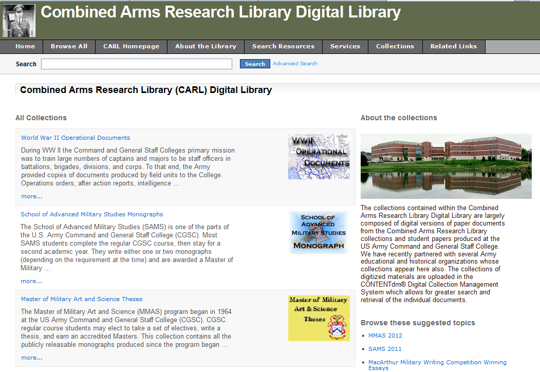 Screenshot CARL digital library