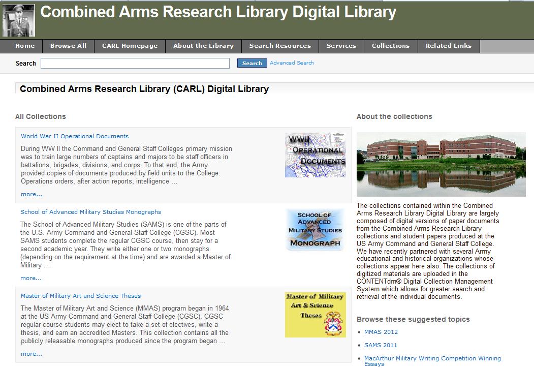 Screenshot CARL digital library