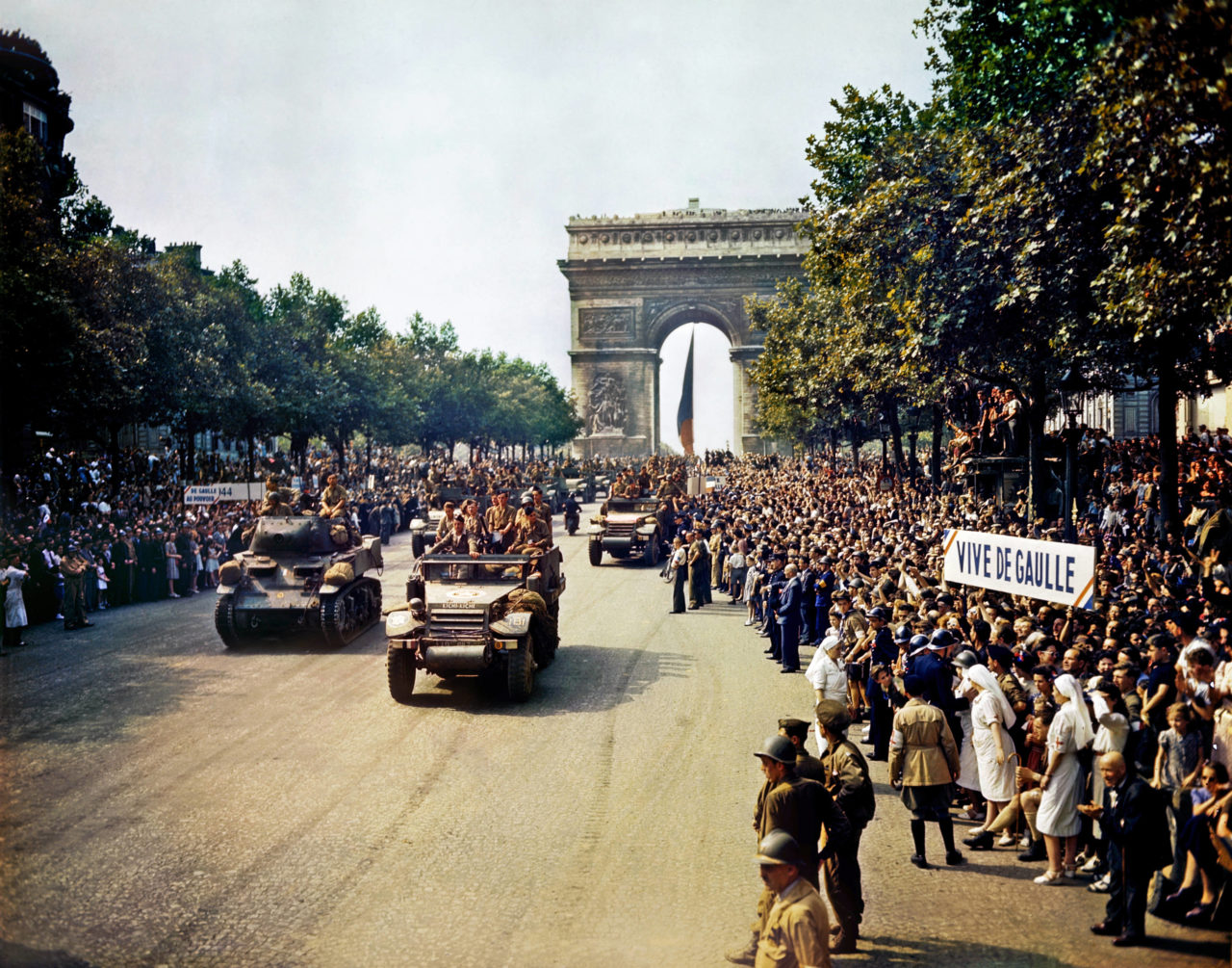 General Leclerc's 2nd Armored Division passes through the Arc du Triomphe