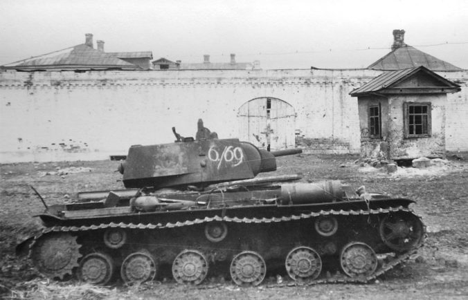 Damaged KV-1 in Mzensk, 1941