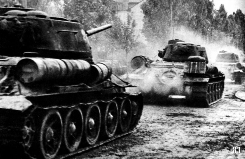 Soviet tanks of the 4th Guards mechanized corps in Belgrade offensive, 1944