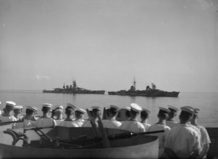 Seamen from HMS Warspite watch the surrendered Italian Fleet, 1943