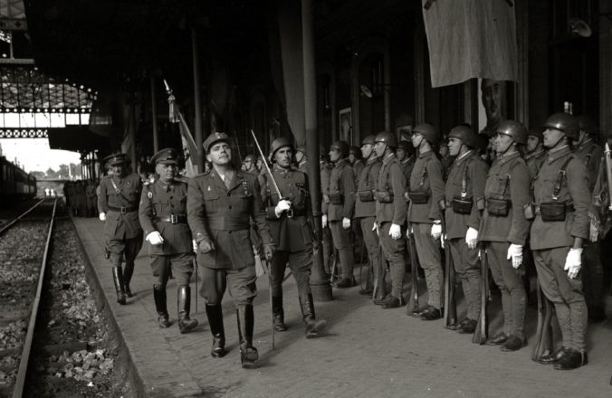 "Spanish Soldiers of the ""Division Azul"" entrain at San Sebastian, 1942"