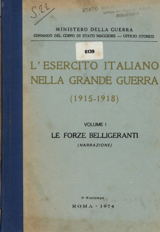 Cover of Vol I of the Official Italian History of World War I