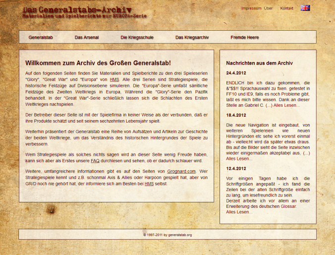 Screenshot of generalstab.org, May 4th, 2012