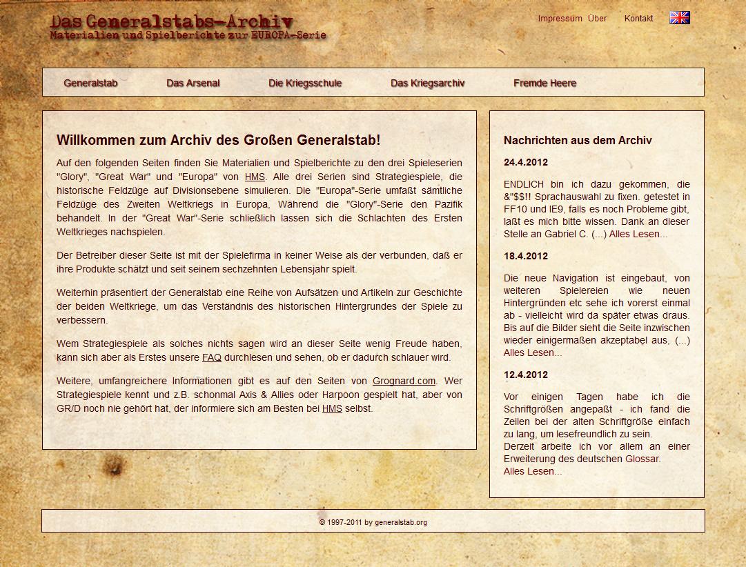 Screenshot of generalstab.org, May 4th, 2012