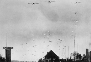 German paratroopers dropping over Holland