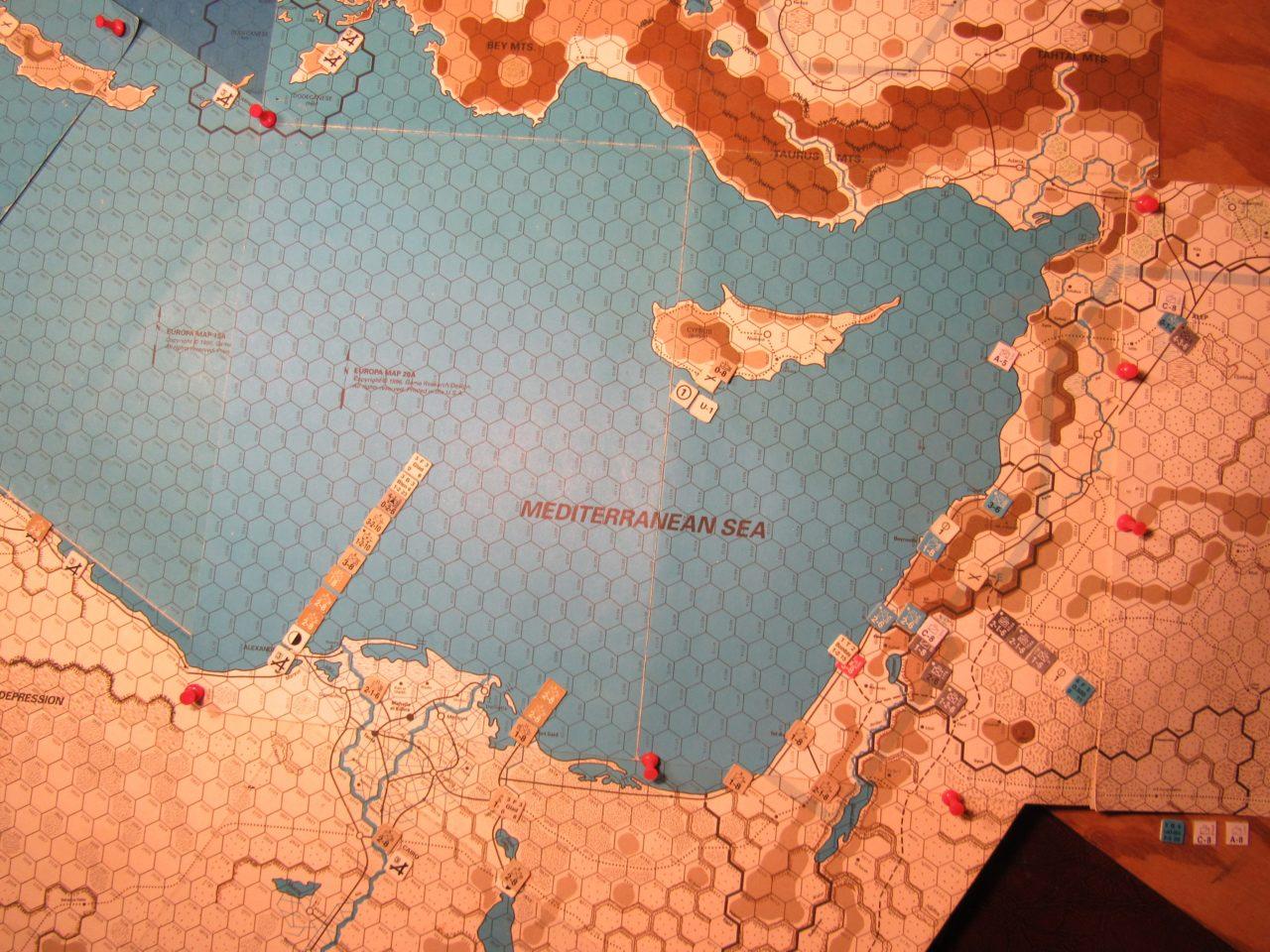 WW ME/ER-II/Crete Scenario Mar II 41 Axis turn Allied at-start set-up: eastern Egypt, Palestine, and Cyprus