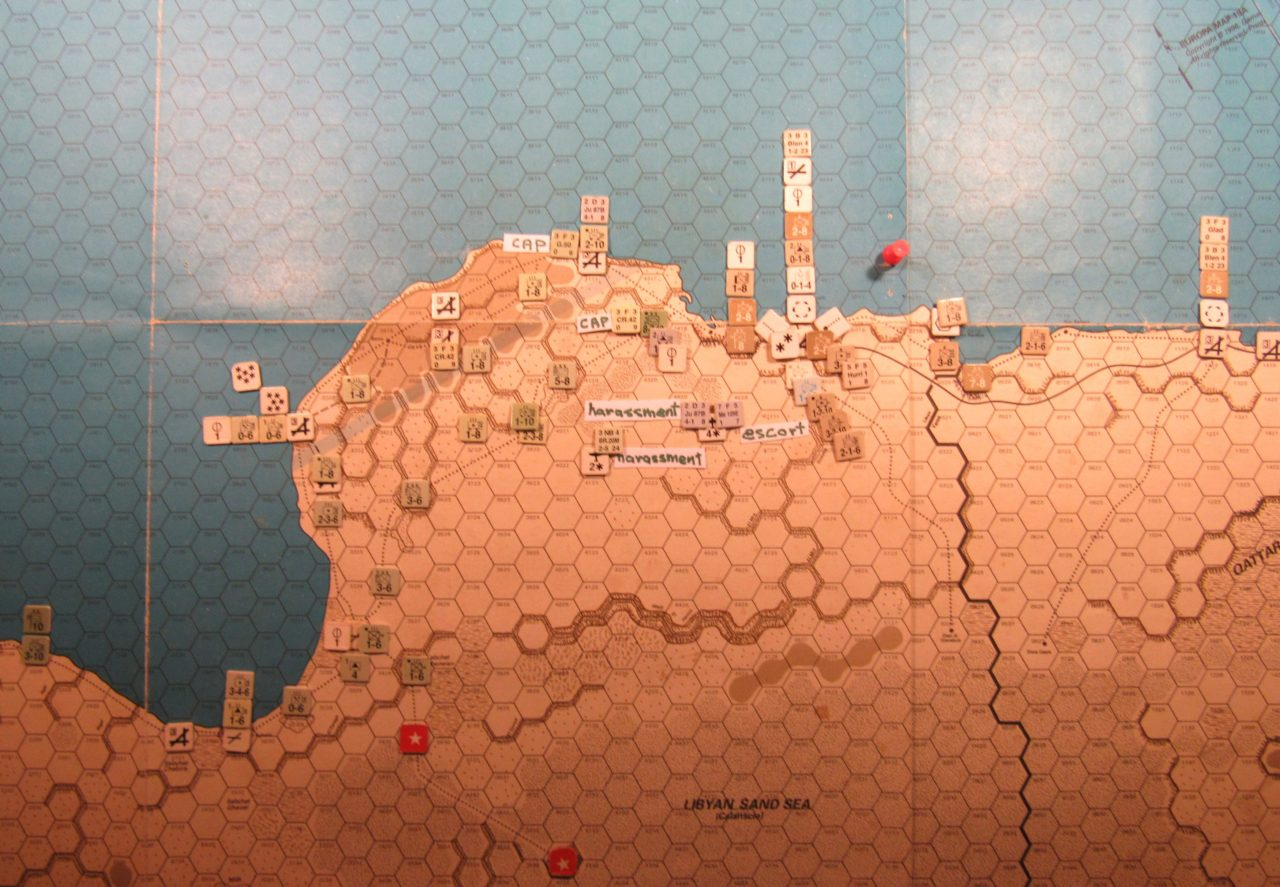 WW ME/ER-II/Crete Scenario Apr II 41 Allied end of step 22 of the Initial Phase dispositions: eastern Libya and western Egypt; Axis CAP and Harassment air missions