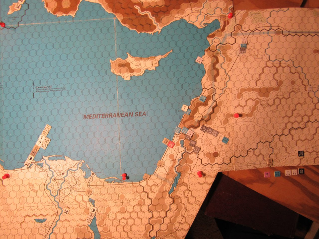 WW ME/ER-II/Crete Scenario Apr II 41 Allied EOT dispositions: eastern Egypt, Palestine, Trans-Jordan, and eastern Iraq