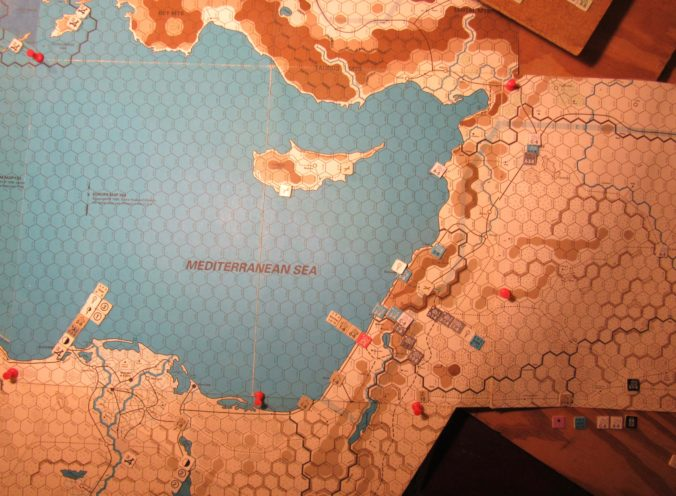 WW ME-ER-II/Crete Scenario Apr II 41 Allied end of Movement Phase dispositions: eastern Egypt, Palestine, Trans-Jordan, and western Iraq