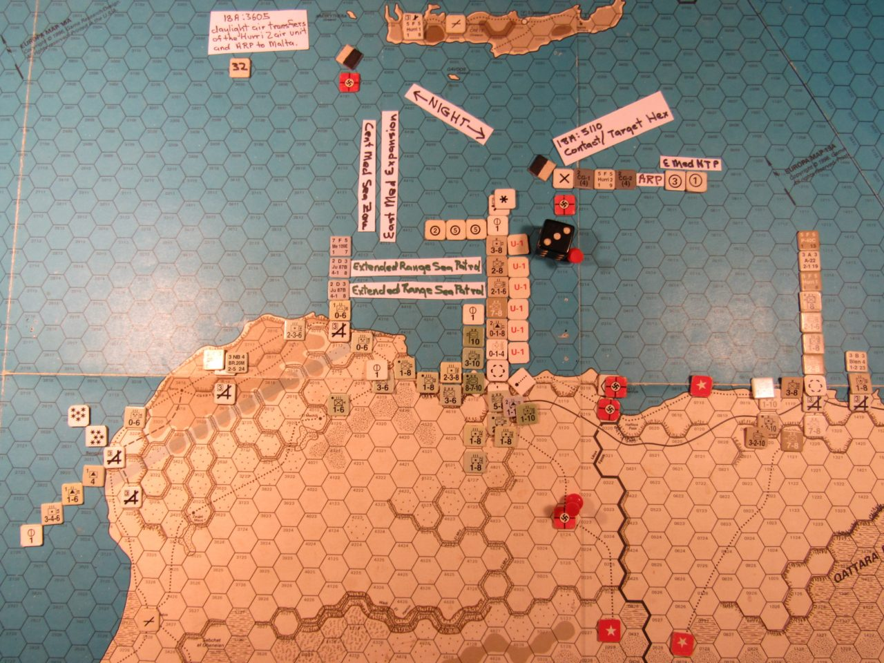 WW ME/ER-II/Crete Scenario May I 41 Allied early Movement Phase: naval movement segment detail of the Allied task force sailing towards Malta