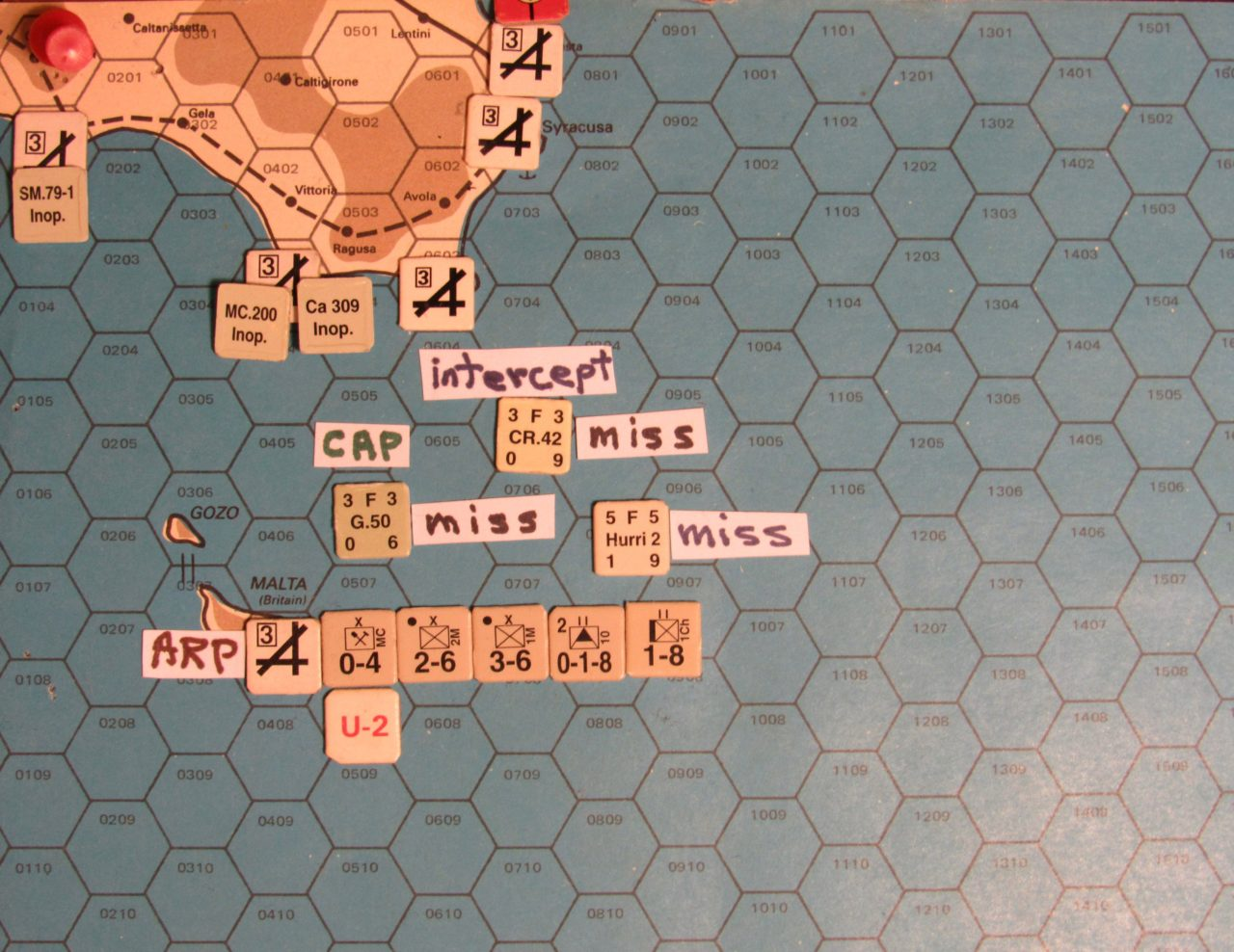 WW ME/ER-II/Crete Scenario May I 41 Allied early Movement Phase air activity around Malta and Sicily: the air transfer arrival of the Hurri 2 air unit