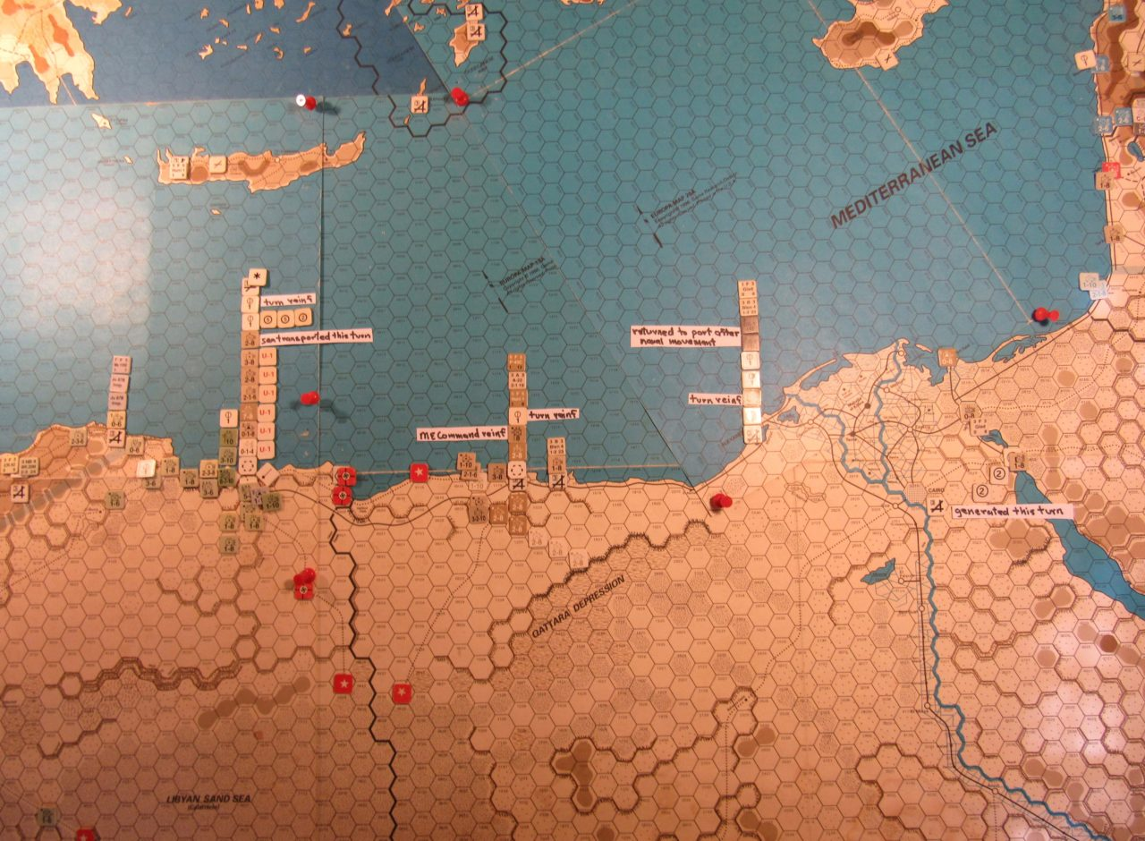 WW ME/ER-II/Crete Scenario May I 41 Allied end of Movement Phase dispositions: eastern Libya, Egypt, and the Palestine coastline