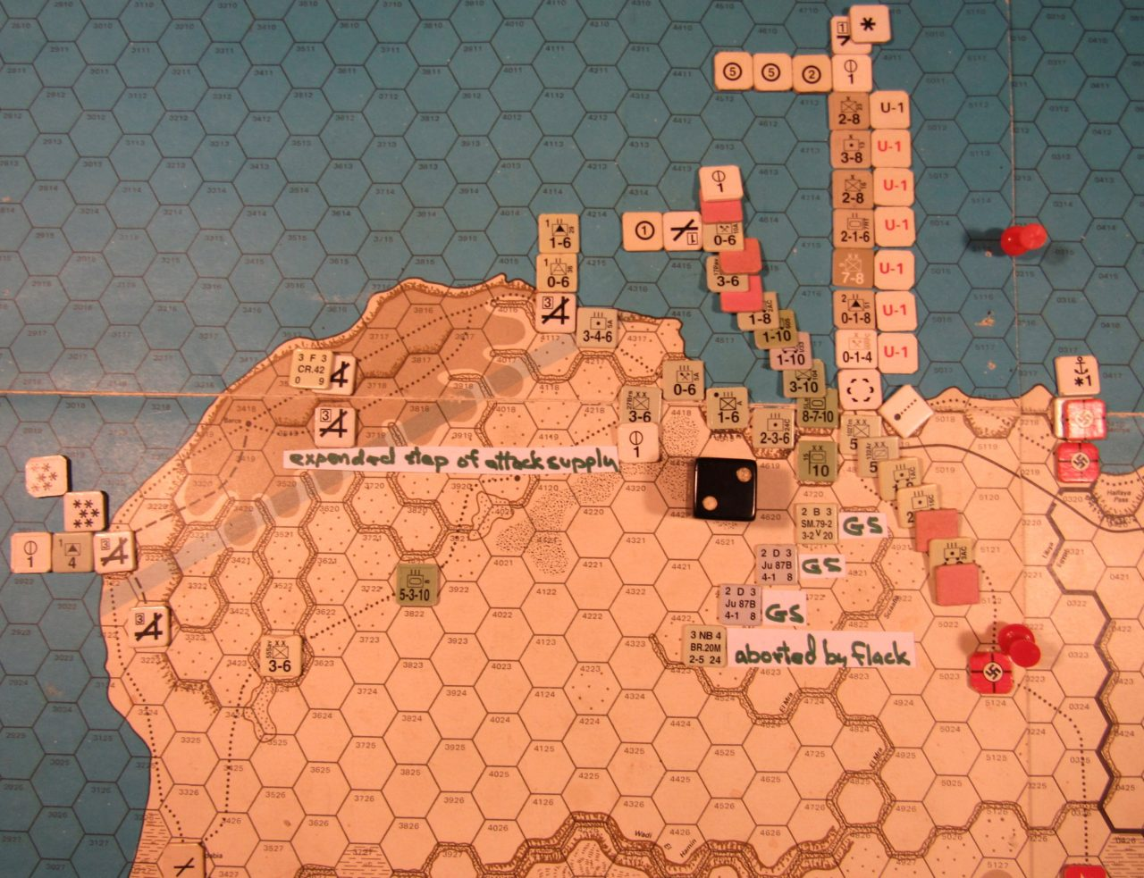 WW ME/ER-II/Crete Scenario May I 41 Axis Combat Phase dispositions at the moment of the combat die roll; Axis units adjacent to Tobruk w/ red markers did not participate in the attack