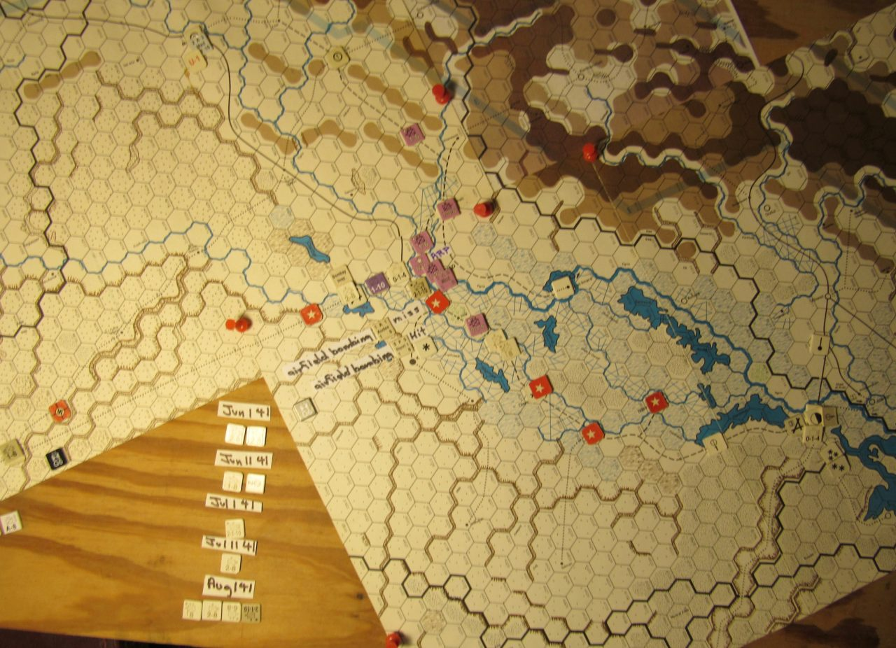 WW ME/ER-II/Crete Scenario May II 41 at the very end of the Movement Phase: Allied air raid on the Baghdad airbase: details; one Hit and the abort of the Iraq Mxd A type air unit