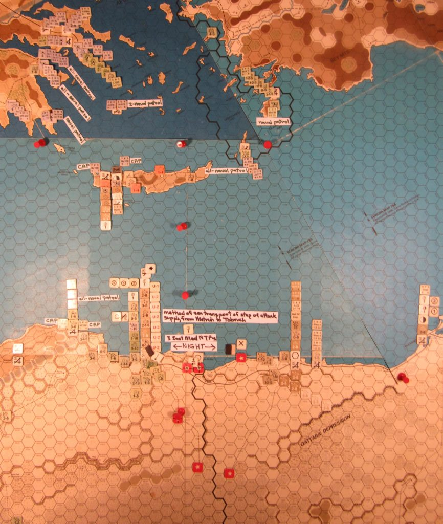 WW ME/ER-II/Crete Scenario May II 41 Allied naval movement step of the Movement Phase detail of the sea transport of the step of attack supply into Tobruch, from Martuh