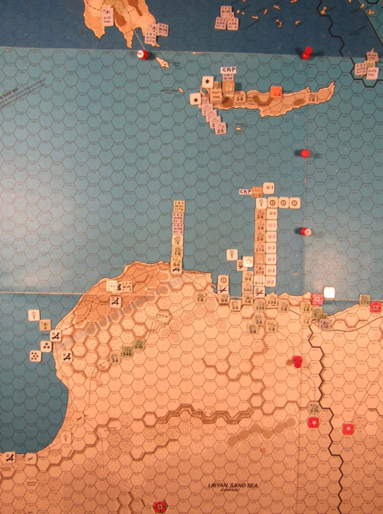 WW 1941 ME/ER-II/Crete Scenario May II 41 Axis end of Movement Phase dispostions: eastern Libya, western Egypt, Crete, and southern zone of the Aegean Sea