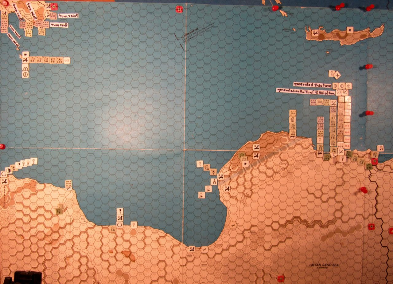 Jun II 41 Axis end of step 16 of the Movement Phase dispositions: Libya, Sicily, Malta, and Crete