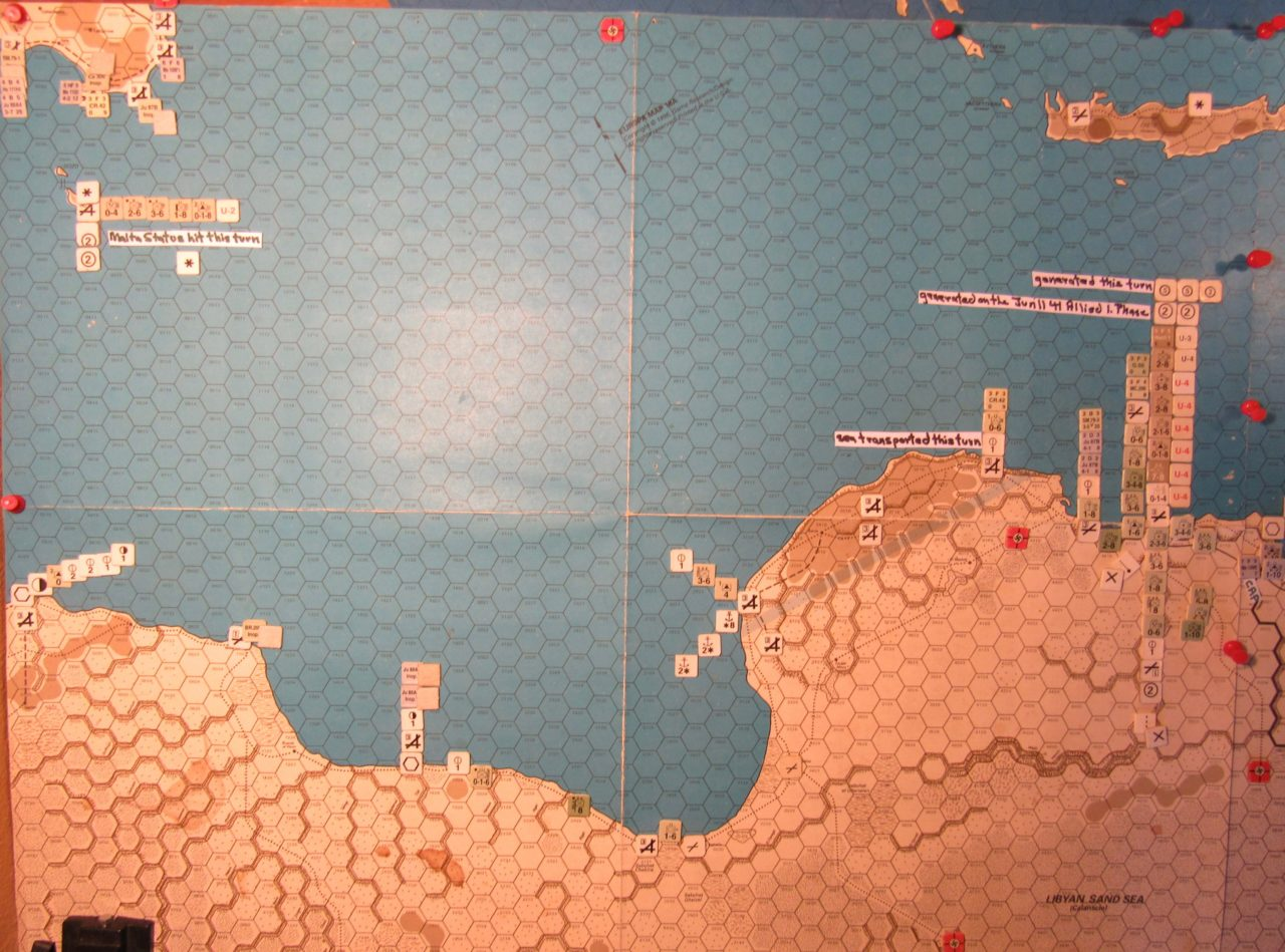Jun II 41 Axis end of the Movement Phase dispositions: Libya, Sicily, Malta, and Crete
