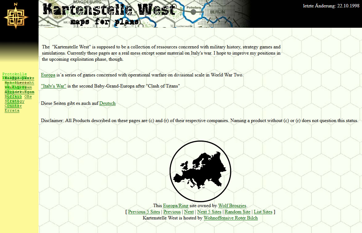 Screenshot of Kartenstelle West, Oktober 22nd, 1998