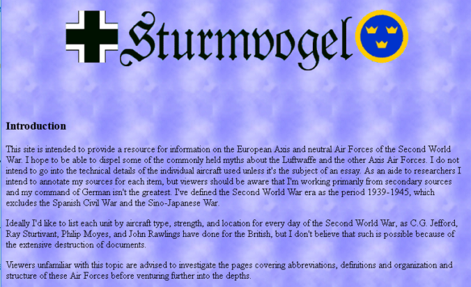 "Screenshot of the ""Sturmvogel""-Homepage"
